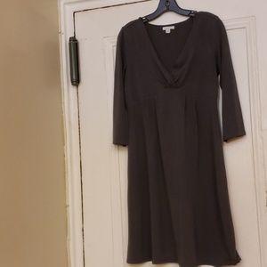 Garnet Hill Long Sleeve V-Neck Gray Dress